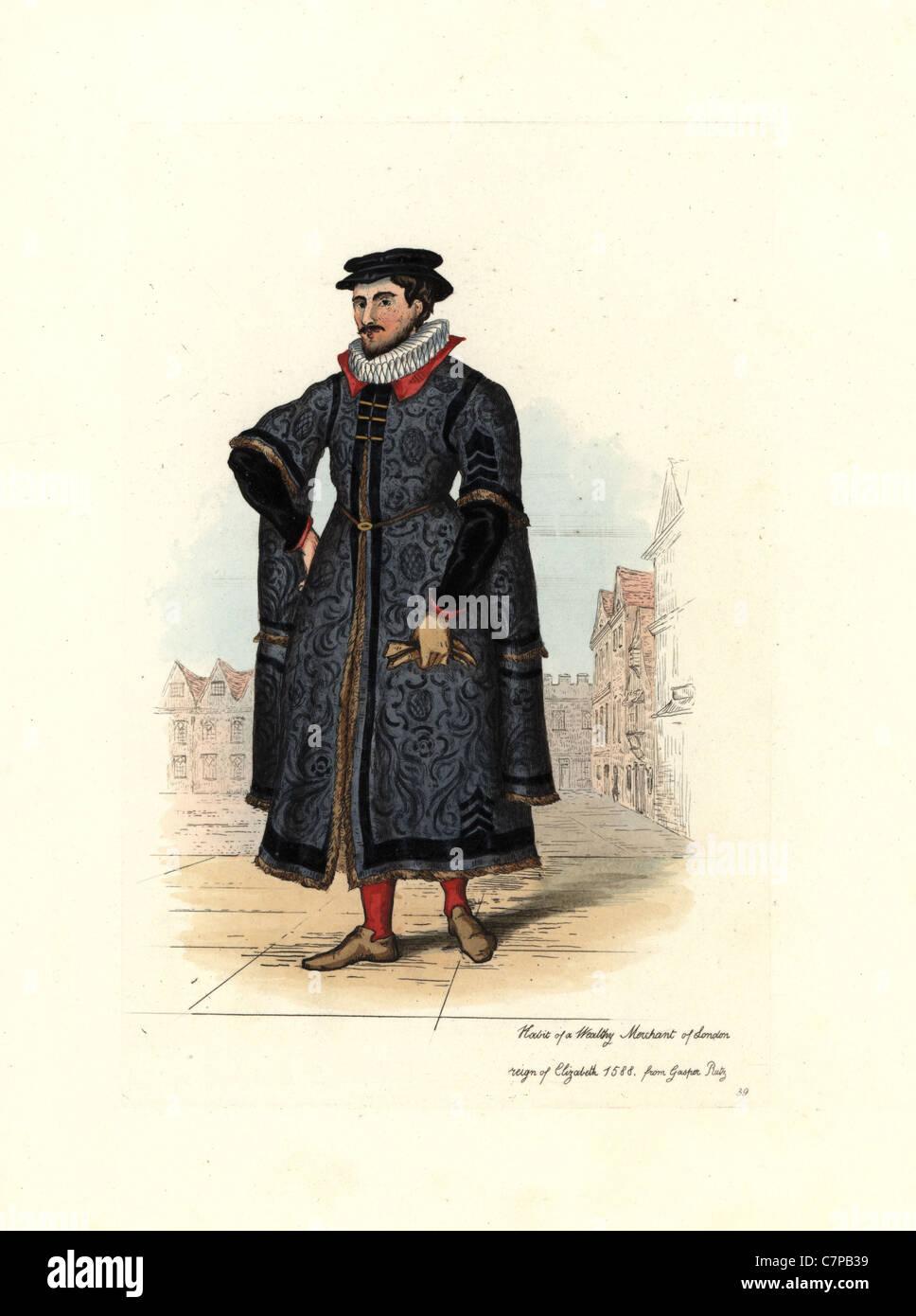 Habit of a wealthy London merchant, time of Elizabeth I. - Stock Image