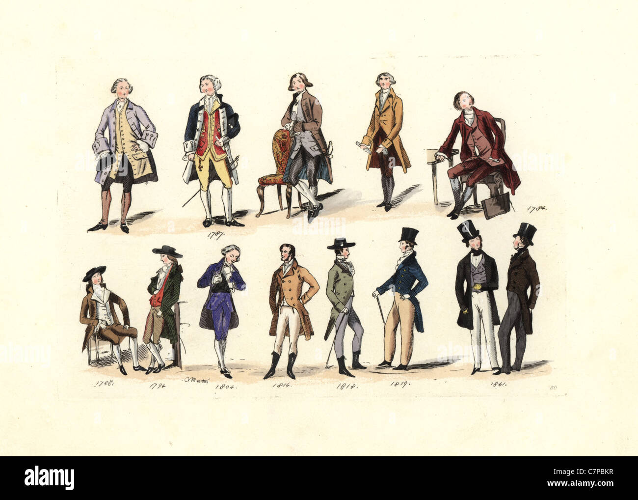 Men's fashion from 1787 to 1841, from various portraits. - Stock Image