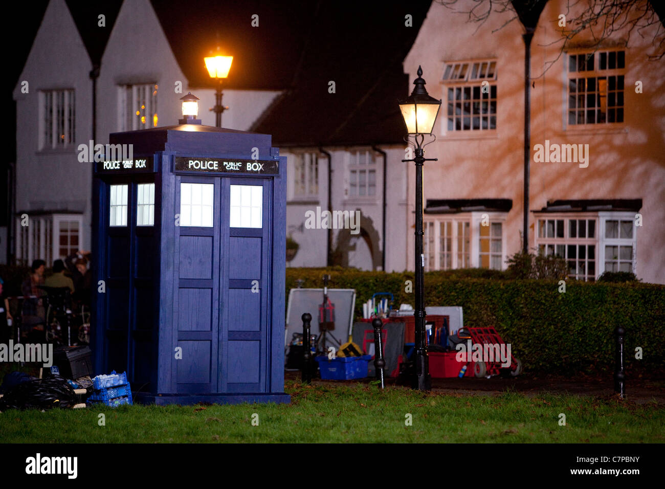 Doctor Who Christmas special filming underway at Y Groes, Rhiwbina Cardiff. - Stock Image
