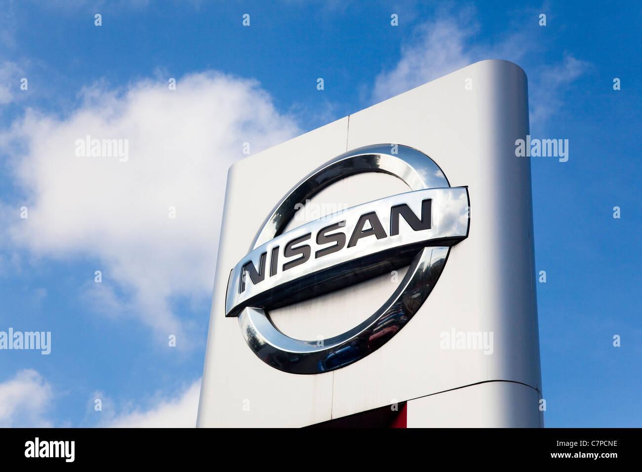 Nissan main dealers sign, London, UK - Stock Image