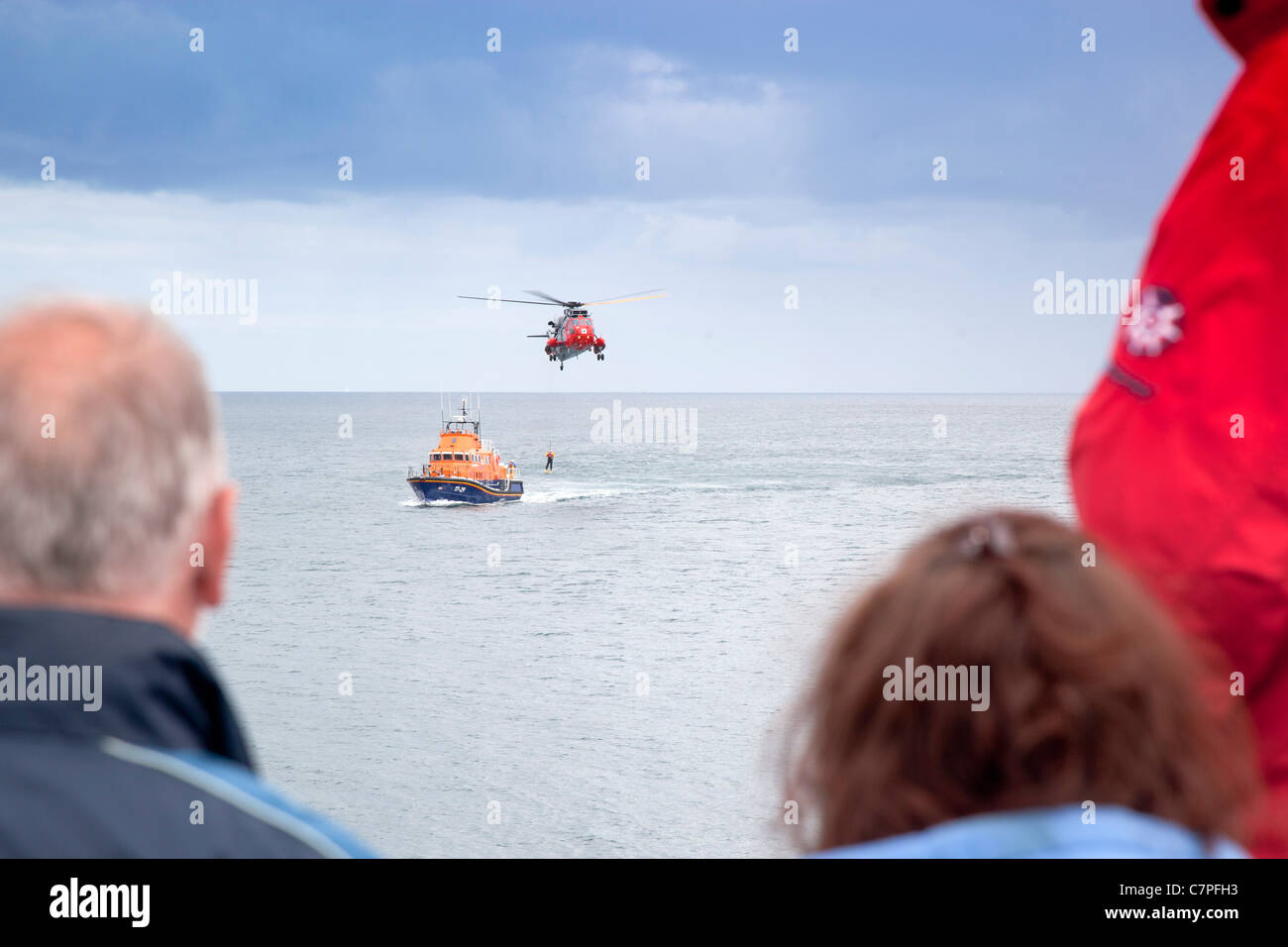 Coverack Lifeboat Day; Rescue display; Cornwall; UK - Stock Image