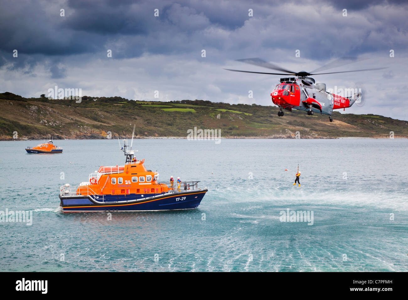 Coverack Lifeboat Day; Rescue display; Cornwall; UK Stock Photo
