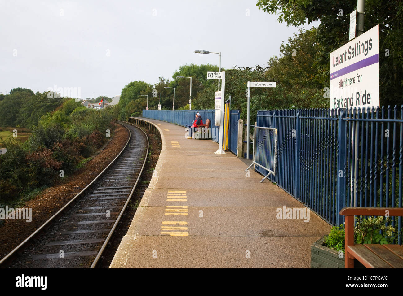 """Lelant Saltings"" railway station - St Ives Park & Ride, Cornwall, UK. Stock Photo"