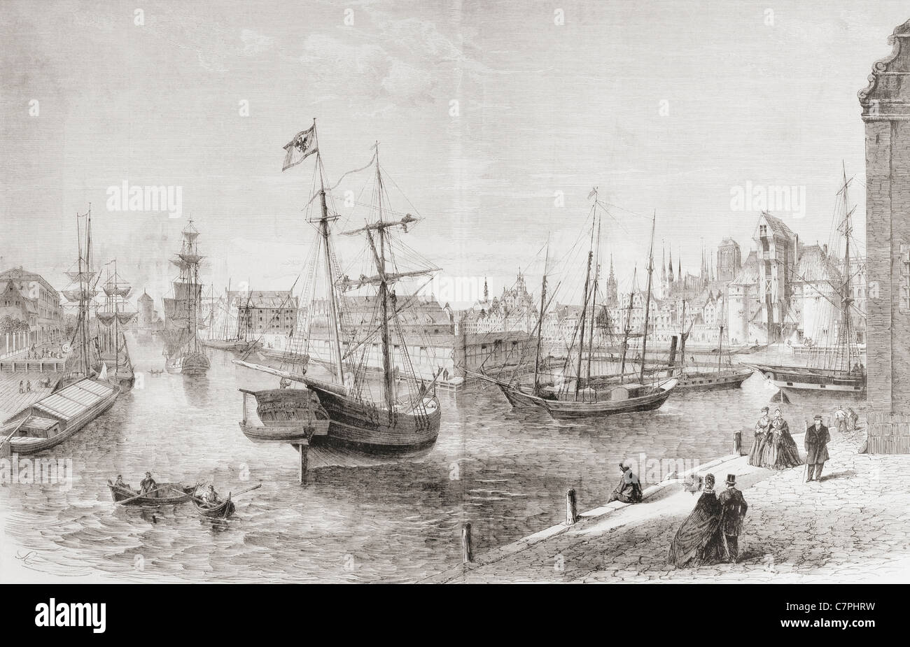 The port of Gdansk, Poland in the mid 19th century. - Stock Image