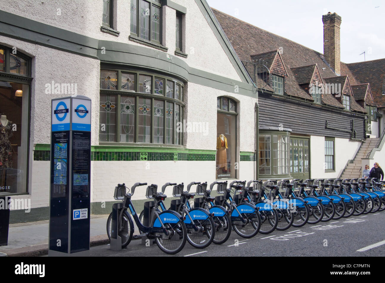 Bicycles for hire in Kensington London  UK Stock Photo