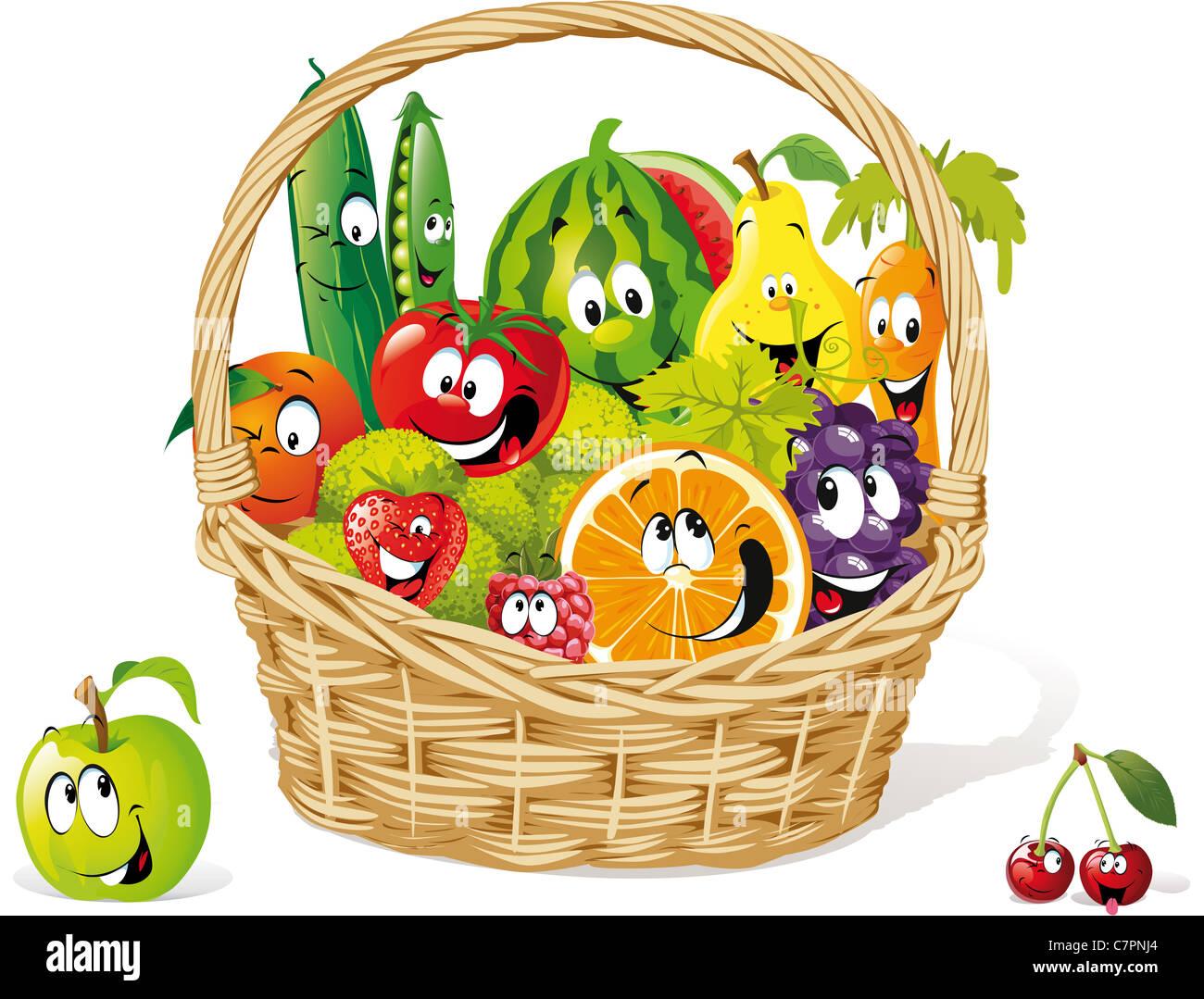basket of happy fruit and vegetable illustration - Stock Image
