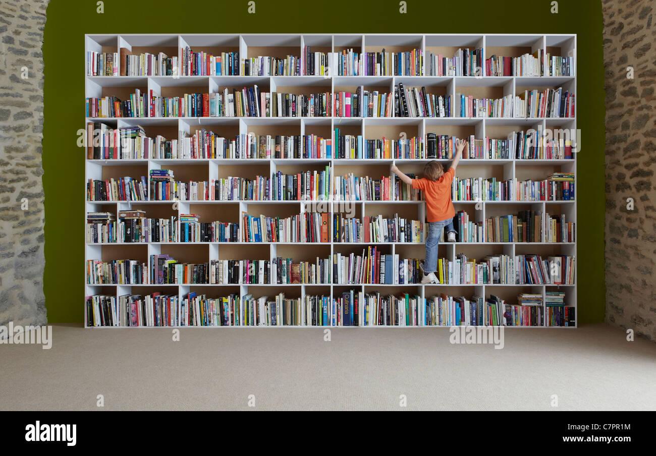 Boy Climbing Bookshelves Stock Photo 39224352