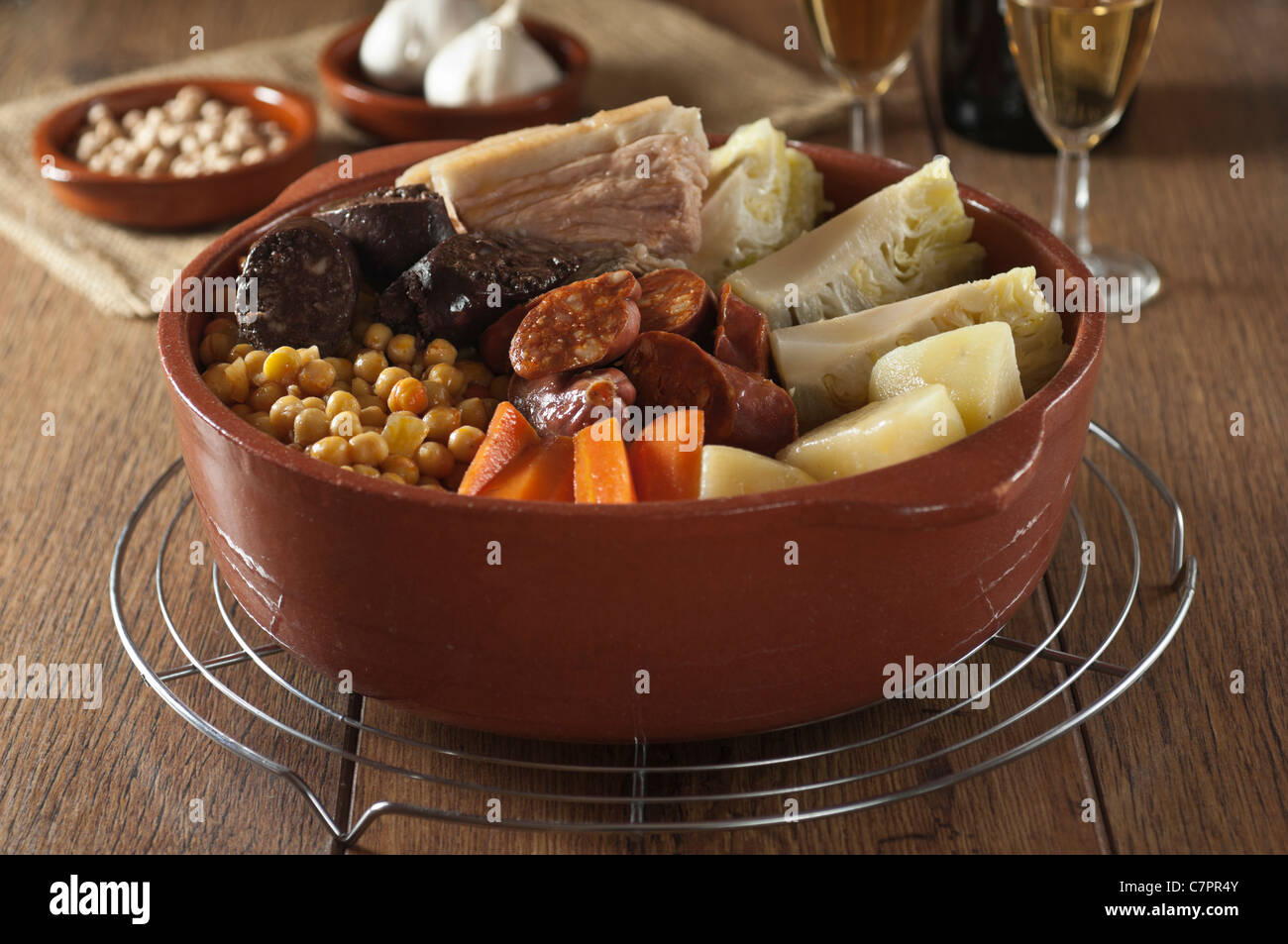 Cocido Espanol. Spanish meat and vegetable stew - Stock Image