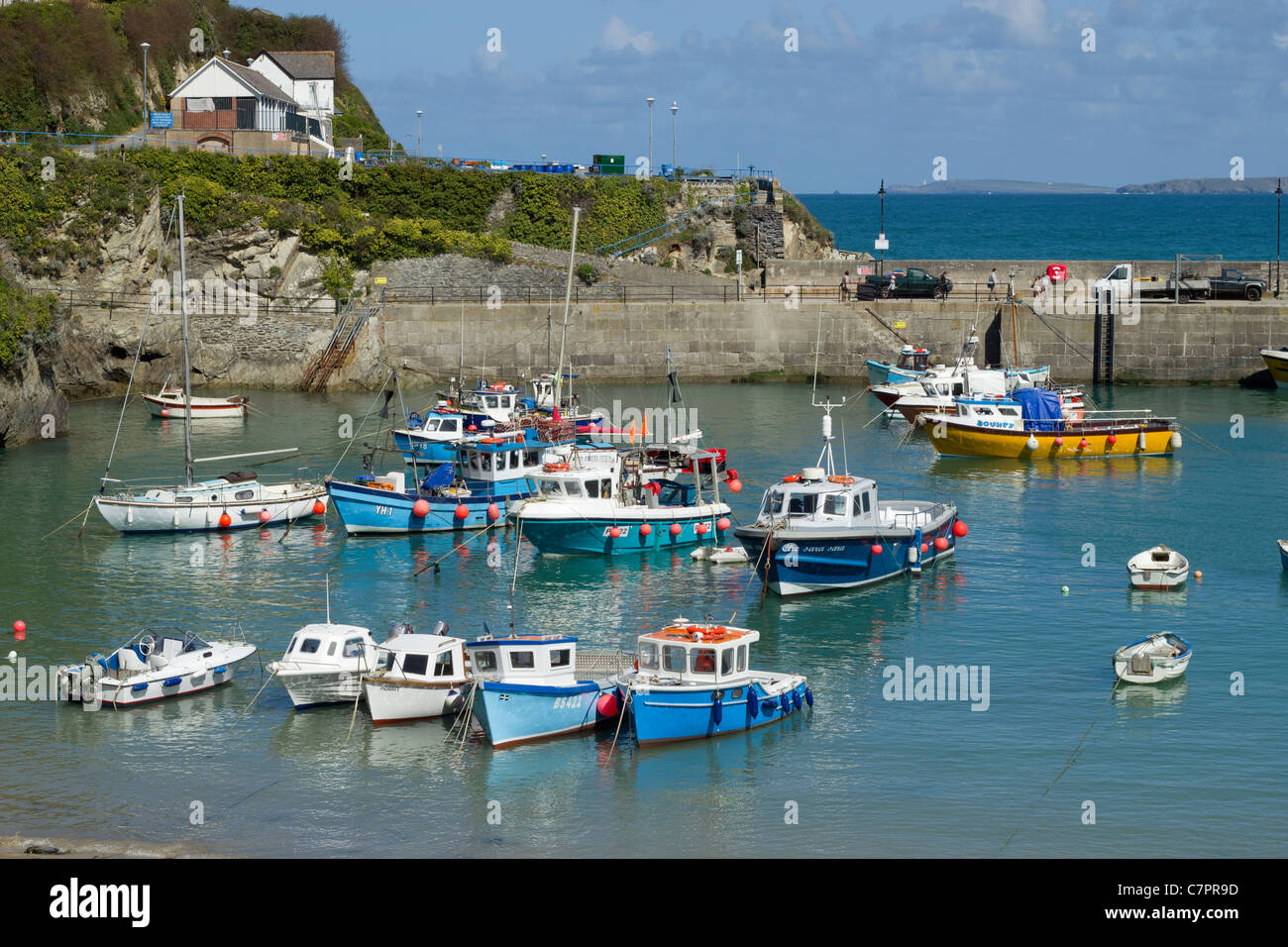 Colourful boats in Newquay harbour, Cornwall UK. - Stock Image