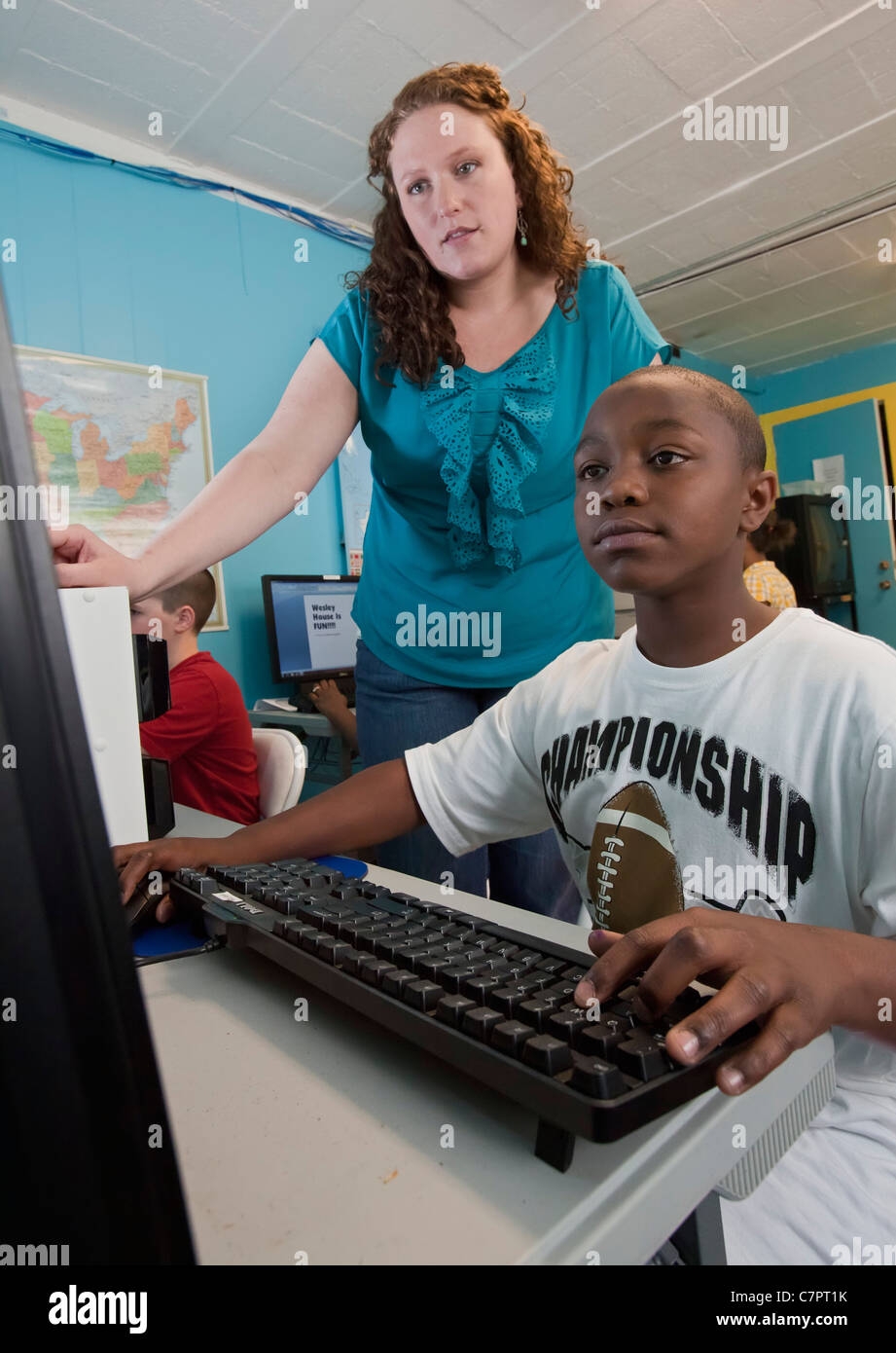After-School Program at Wesley House Community Center - Stock Image