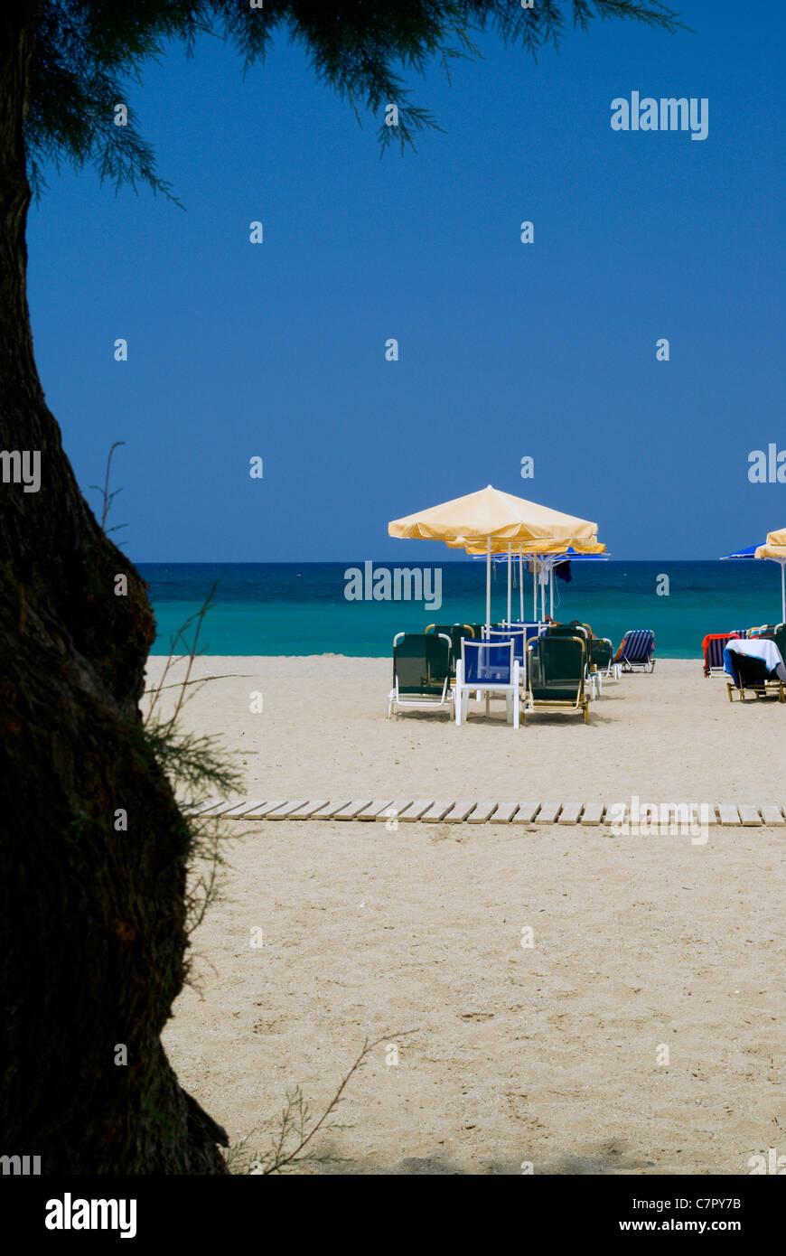 platanas beach, rethymnon, crete, greece Stock Photo