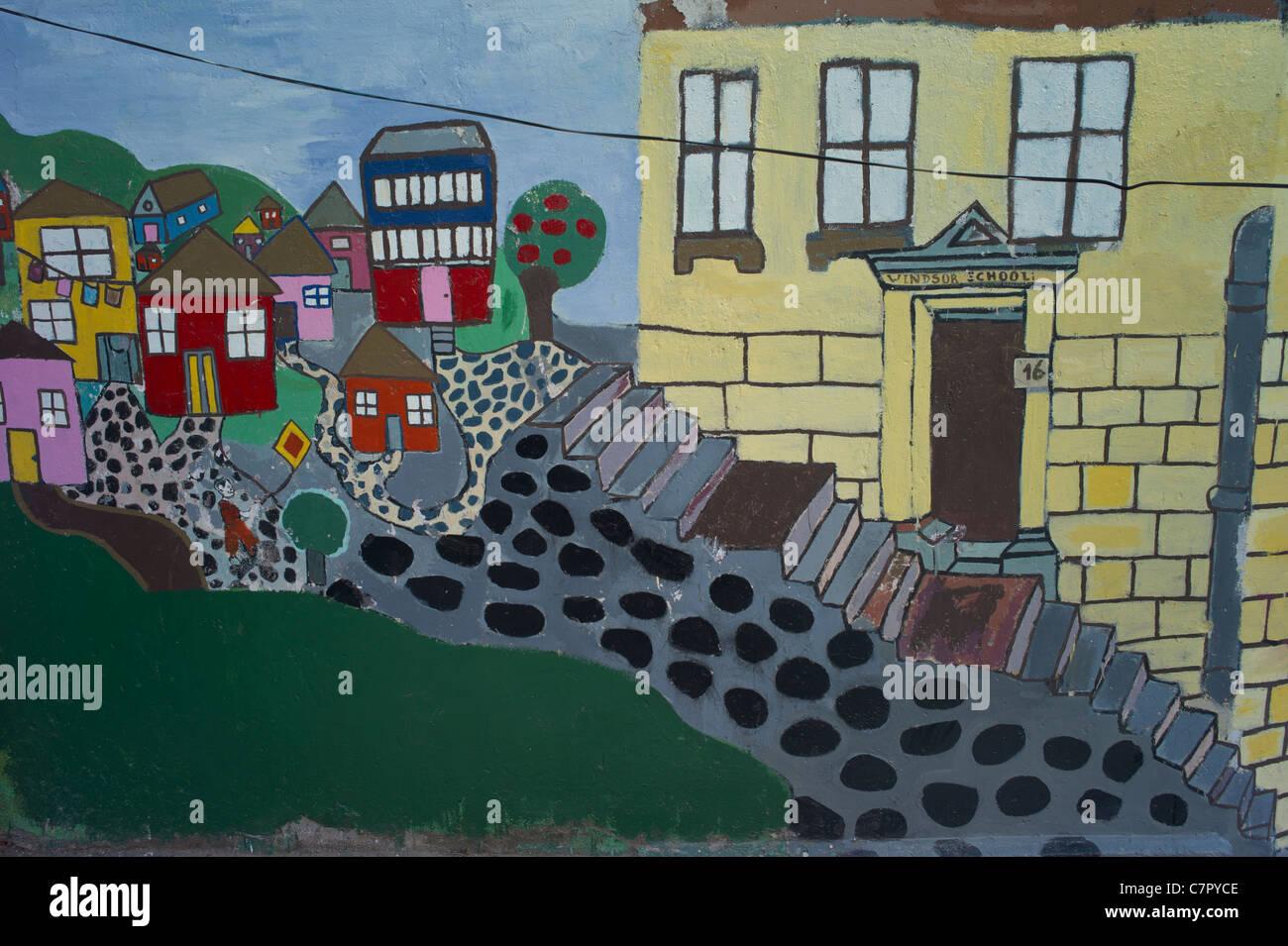 Wall painting of neighborhood, Valparaiso, Chile, South America - Stock Image