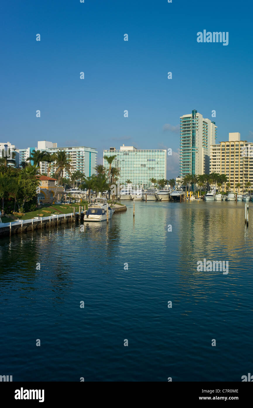 Inter-coastal Canal, Miami Beach, Florida, USA Stock Photo