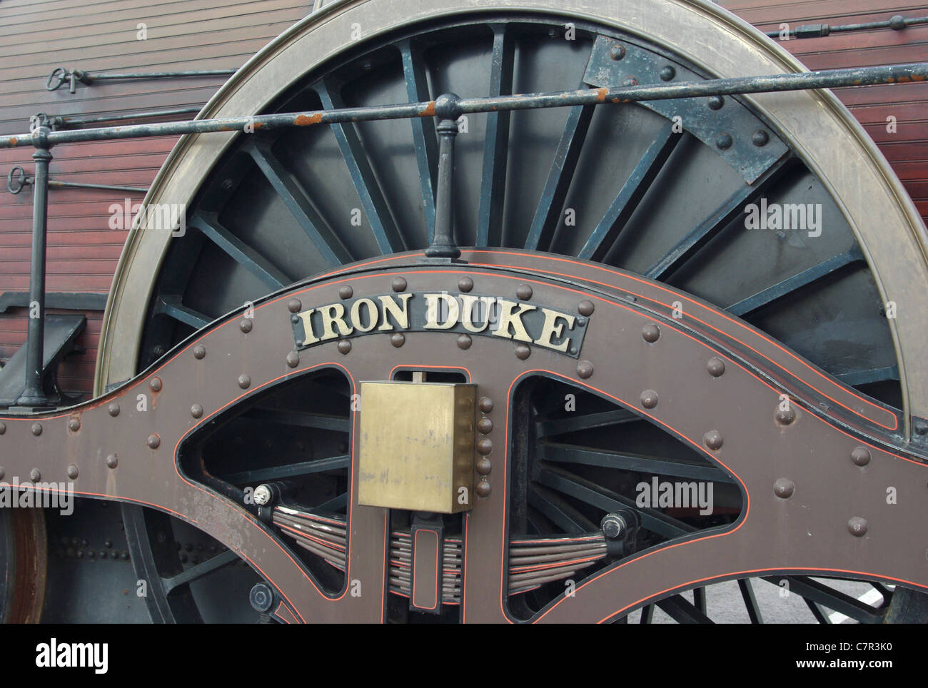 Detail from an old steam locomotive, Iron Duke, in the car park at Toddington Station. - Stock Image