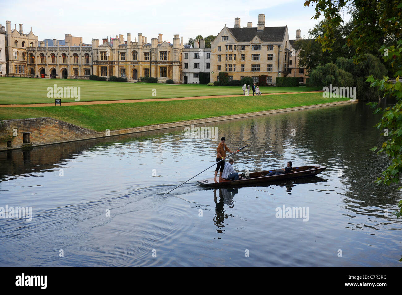 Punting on River Cam early evening Cambridge England Uk - Stock Image