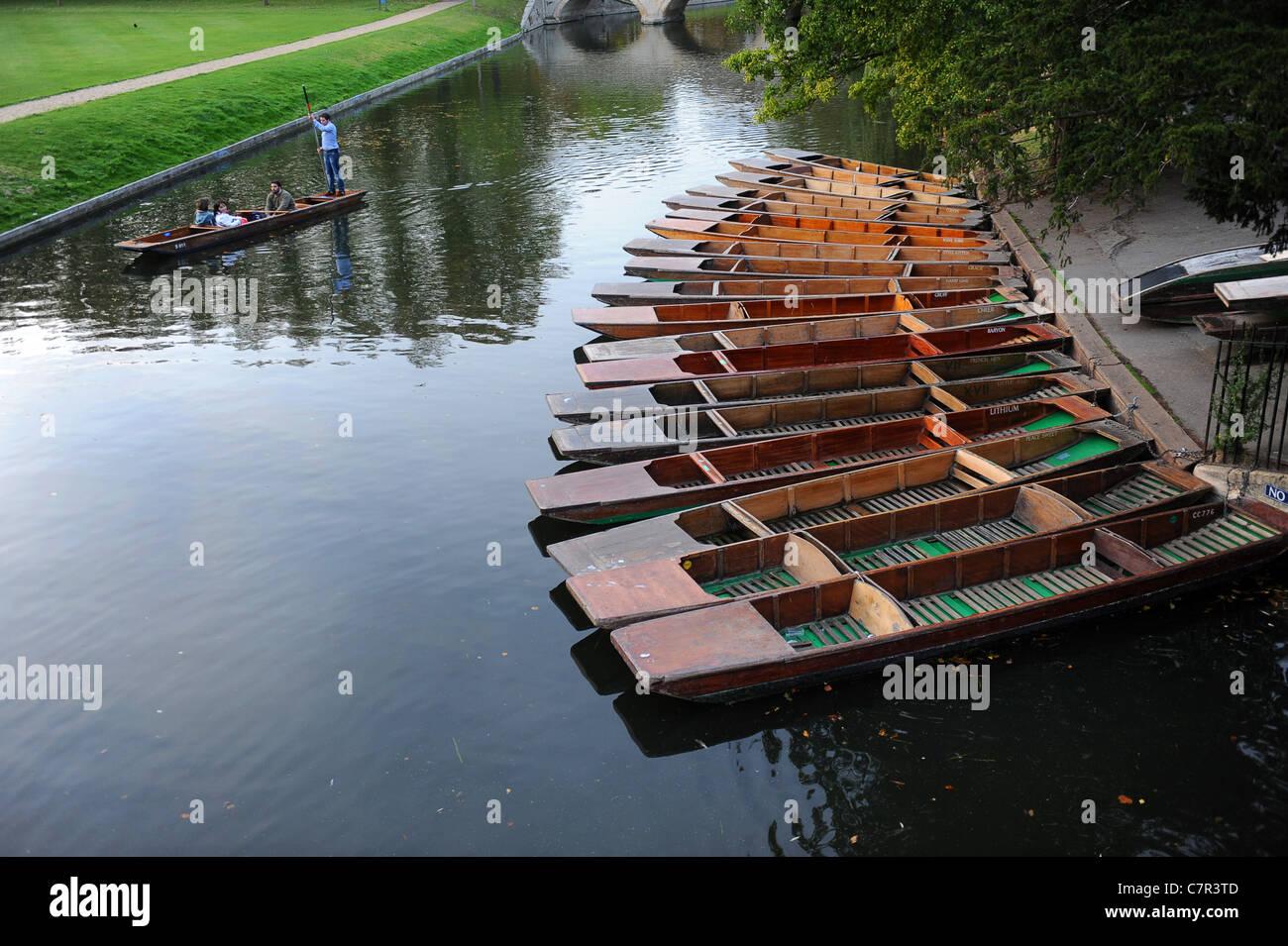 Punts moored at Cambridge England Uk - Stock Image