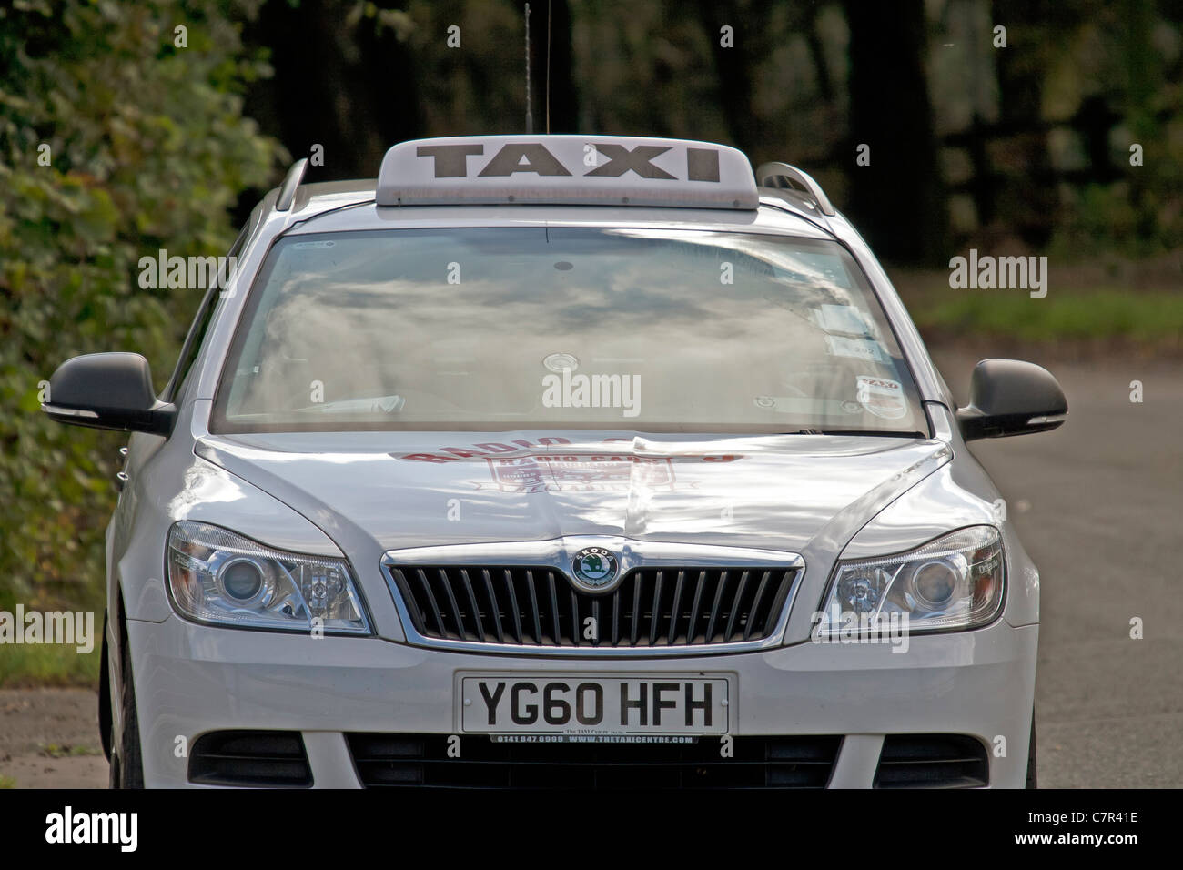 Front View Of A Skoda Taxi With Sign In White Stock Photo 39231402