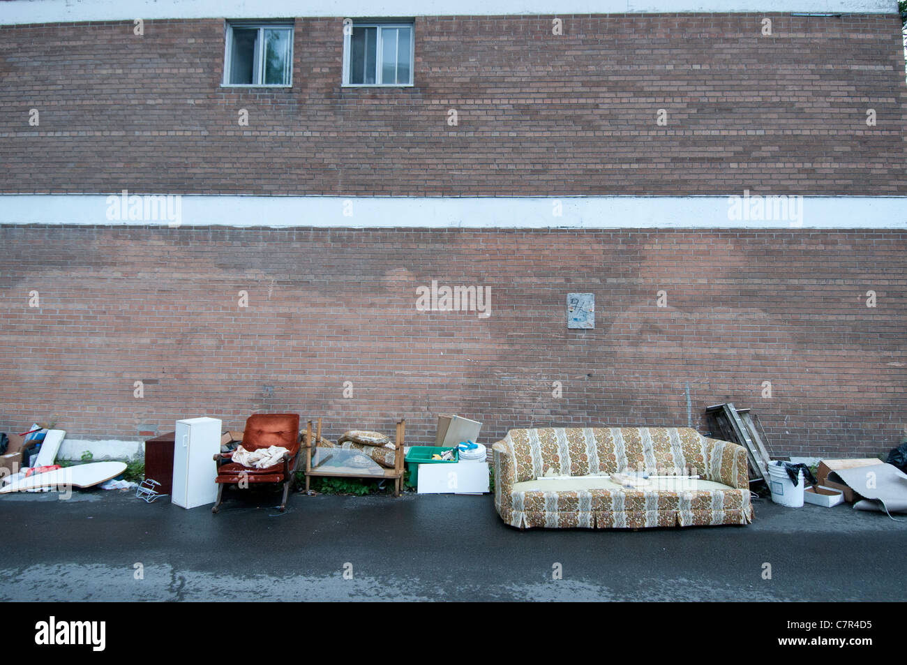 Discarded Furniture thrown on the street Montreal canada - Stock Image