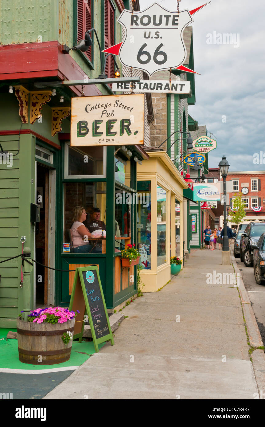 route 66 restaurant town of bar harbor maine united states stock
