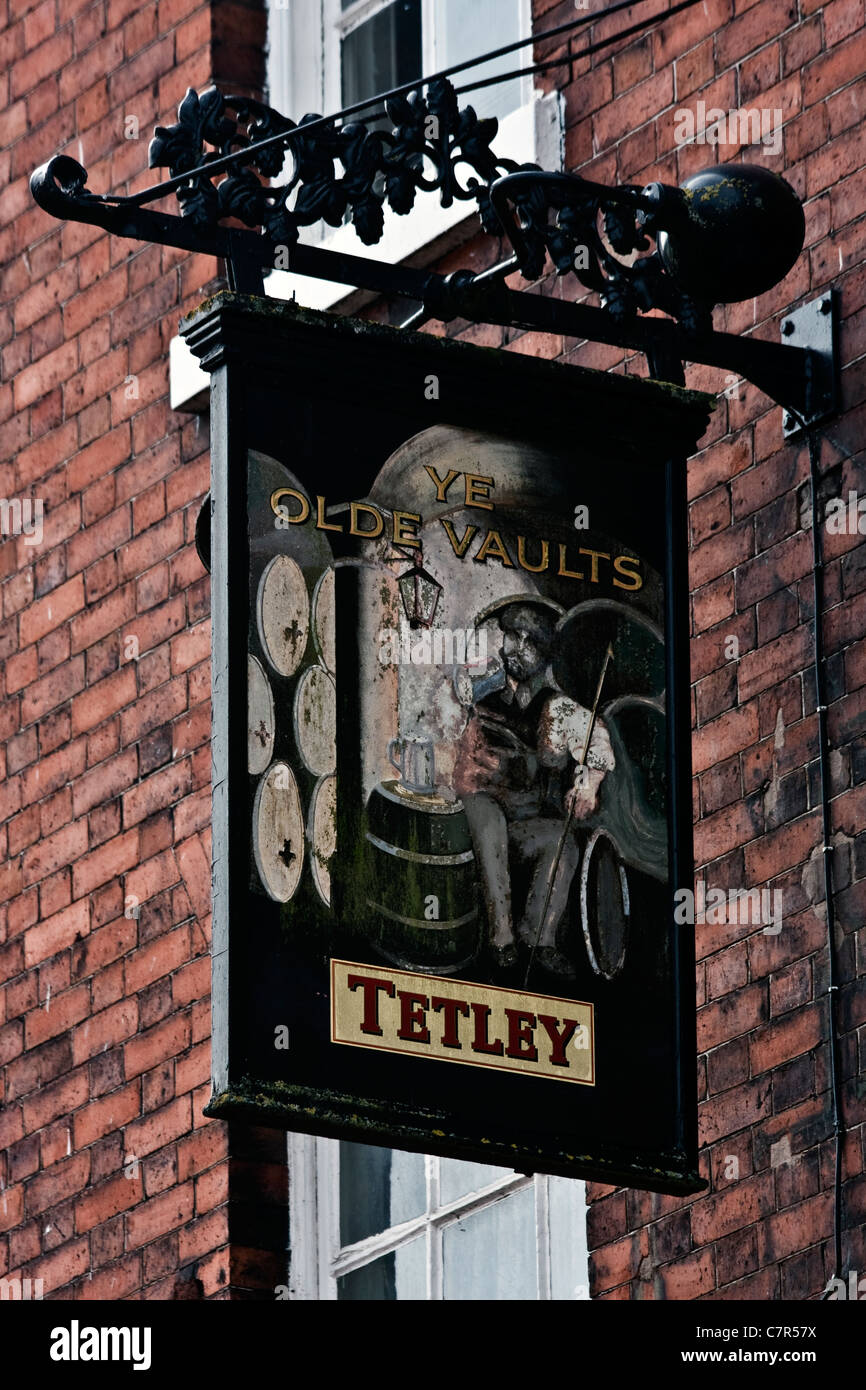 Bar Signs in Nantwich Town Centre, Cheshire, UK - Stock Image