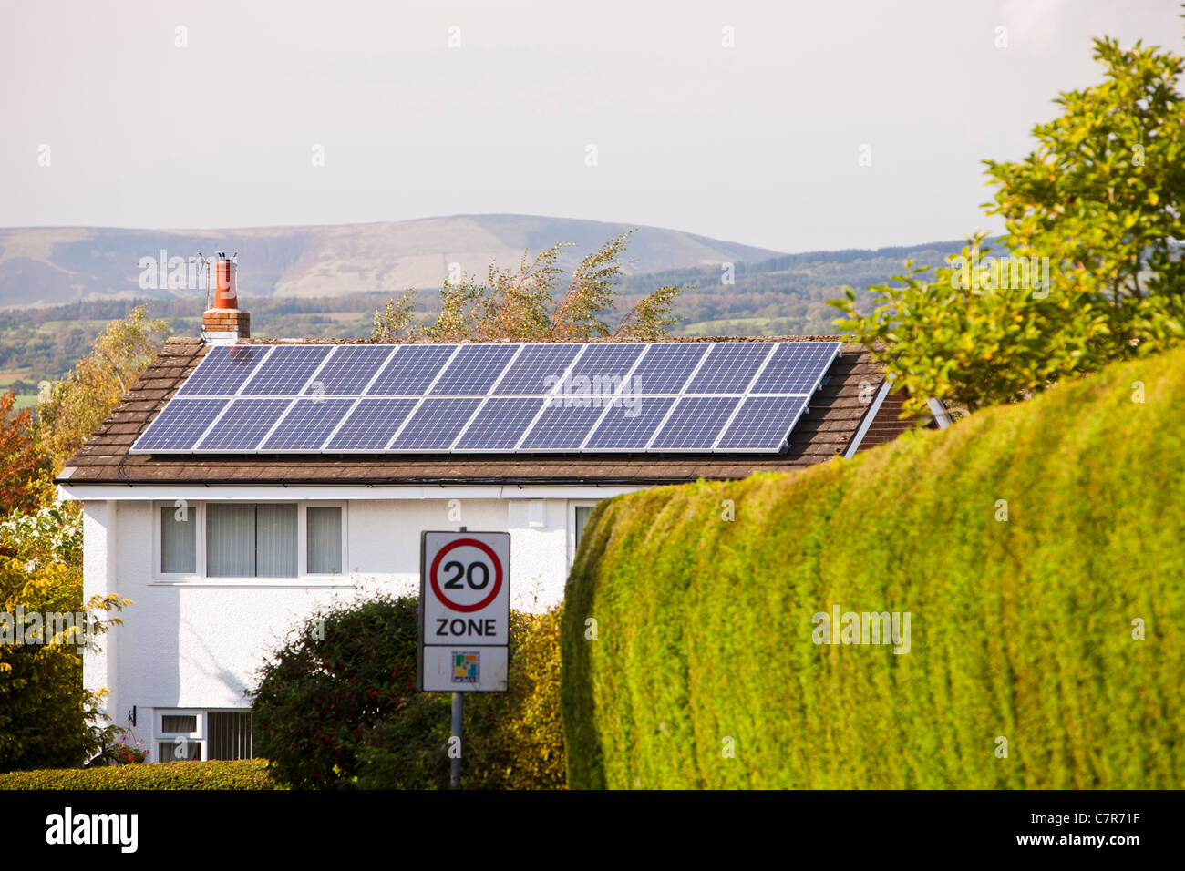 Solar electric panels on a house roof in clitheroe, Lancashire, UK. - Stock Image