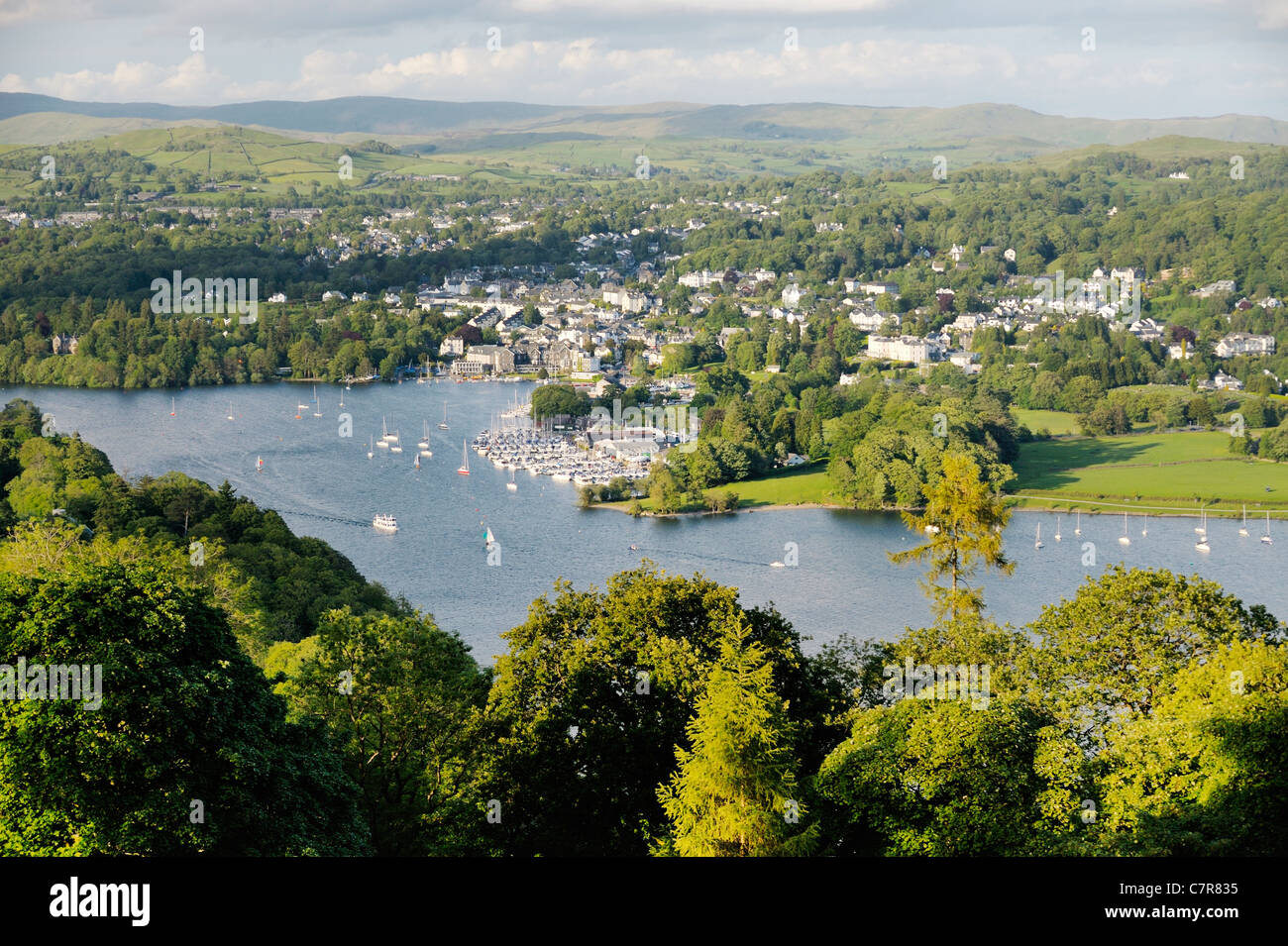 Windermere. Lake District National Park, Cumbria, England. N.E. over Bowness on Windermere boat moorings from above - Stock Image