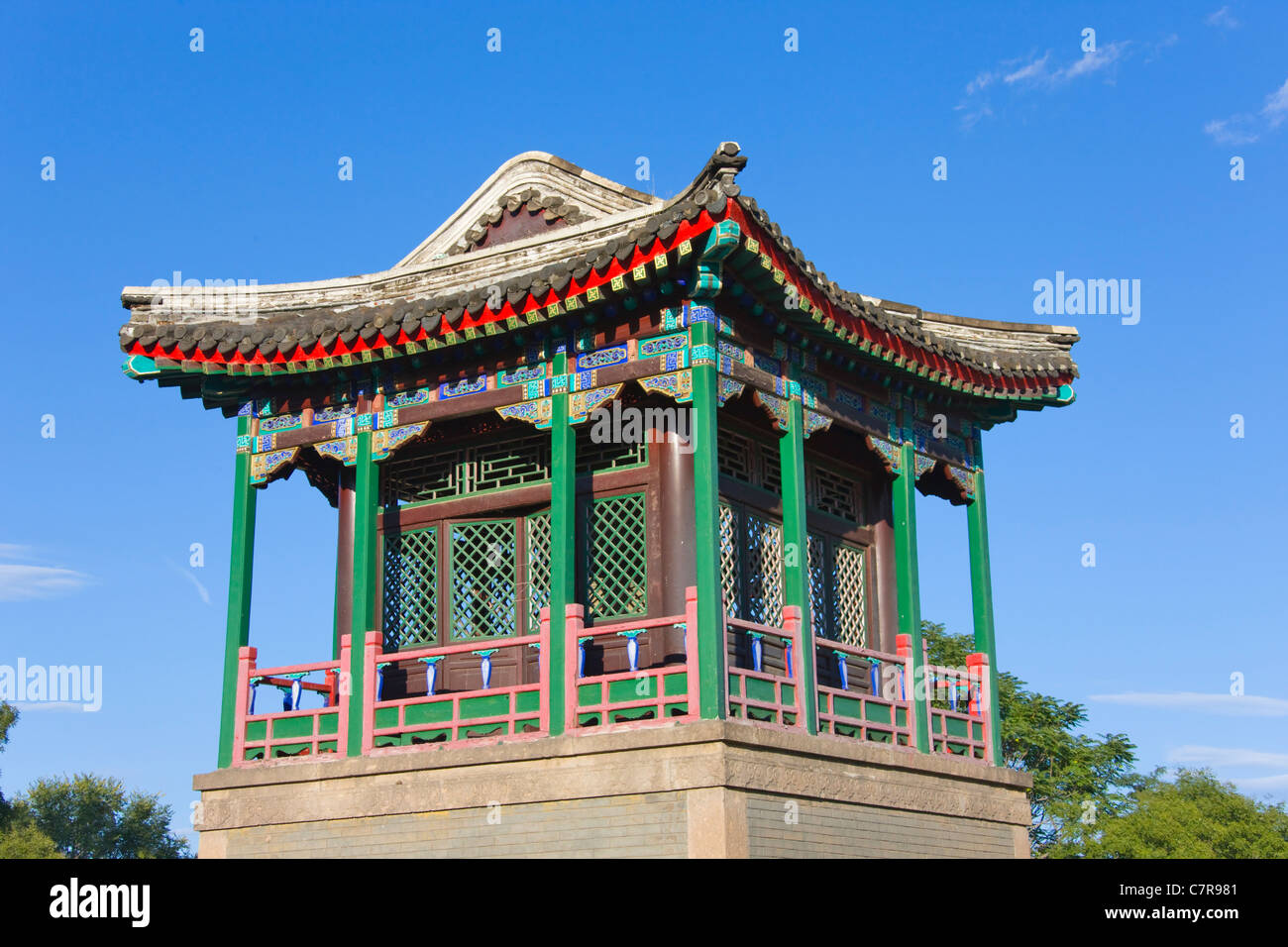 Pavilion in Chengde Mountain Resort, Chengde, Hebei Province, China - Stock Image