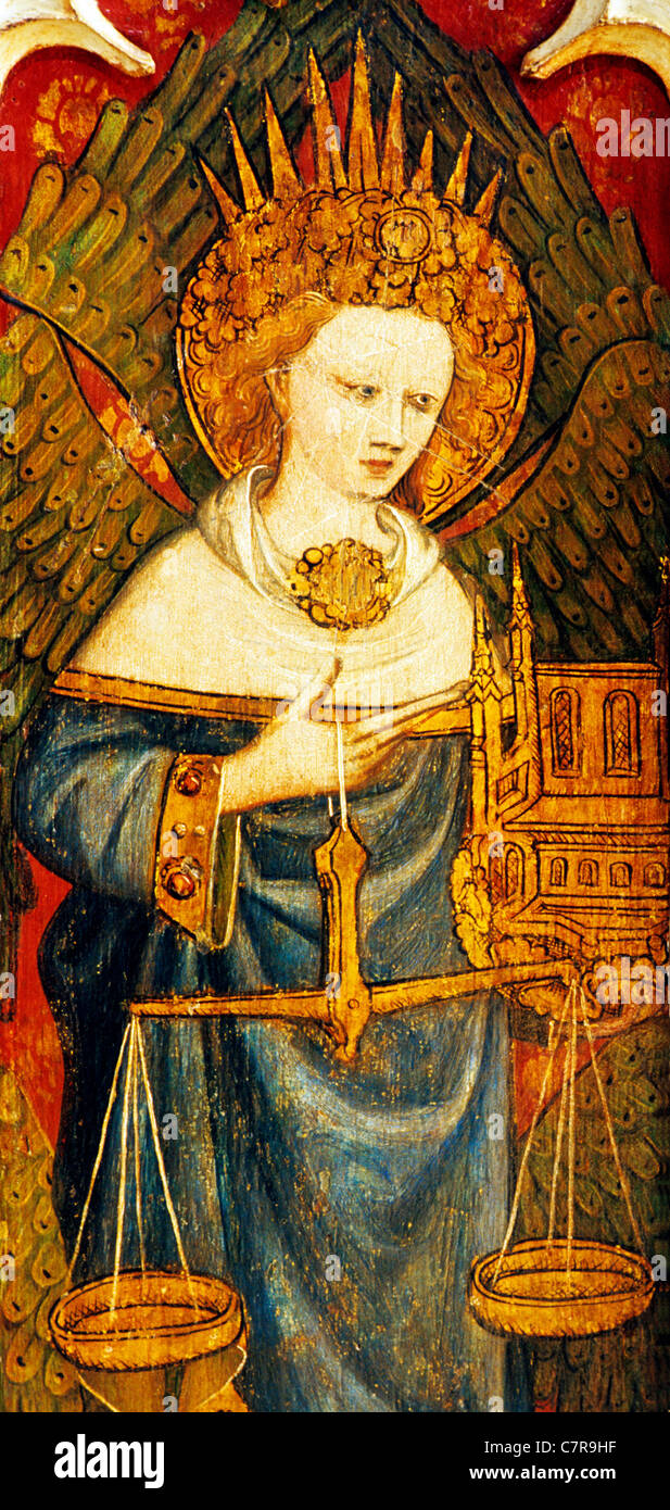 Barton Turf, Norfolk, rood screen, Thrones, one of Nine Orders of Angels, detail, Superior hierarchy, holding a - Stock Image