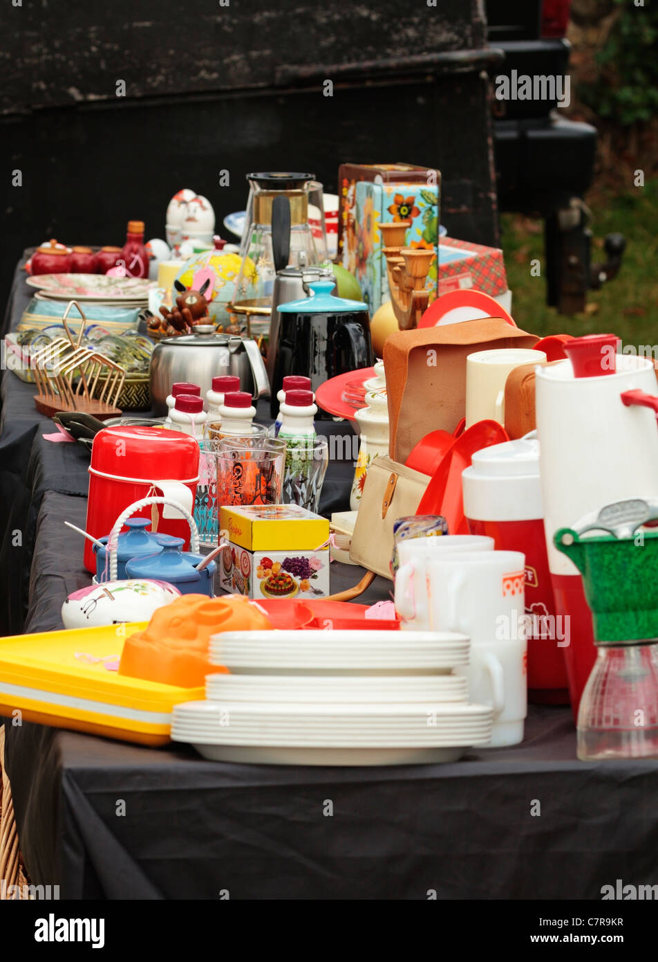 Second Hand Used Jumble, Bungay Antique Street Market Fair, Castle Meadow, Suffolk, United Kingdom - Stock Image