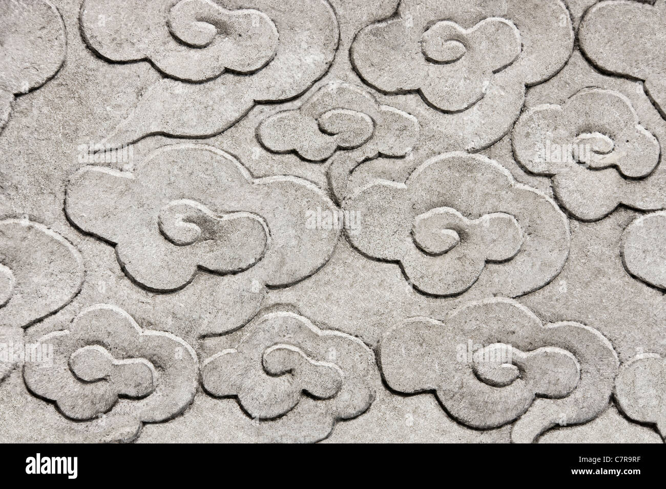 Stone carving of cloud pattern, Shanghai, China - Stock Image