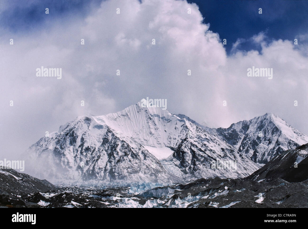 Mountain peak in Rongbuk Glacier enroute to Mt. Everest, Tibet, China - Stock Image