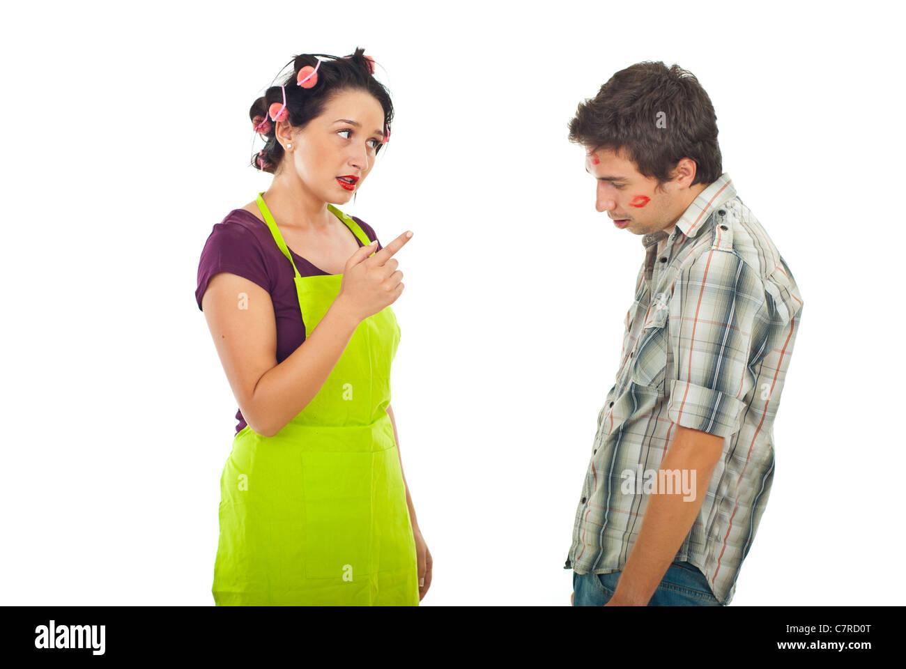 Wife argue her unfaithful husband isolated on white background - Stock Image