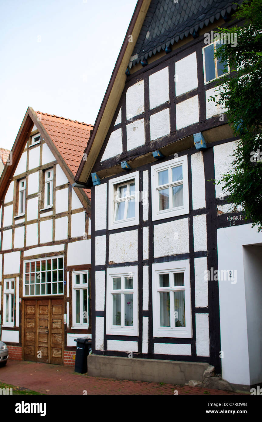 Old traditional houses in Petershagen on the old ferry street (Alte Fährstraße). - Stock Image