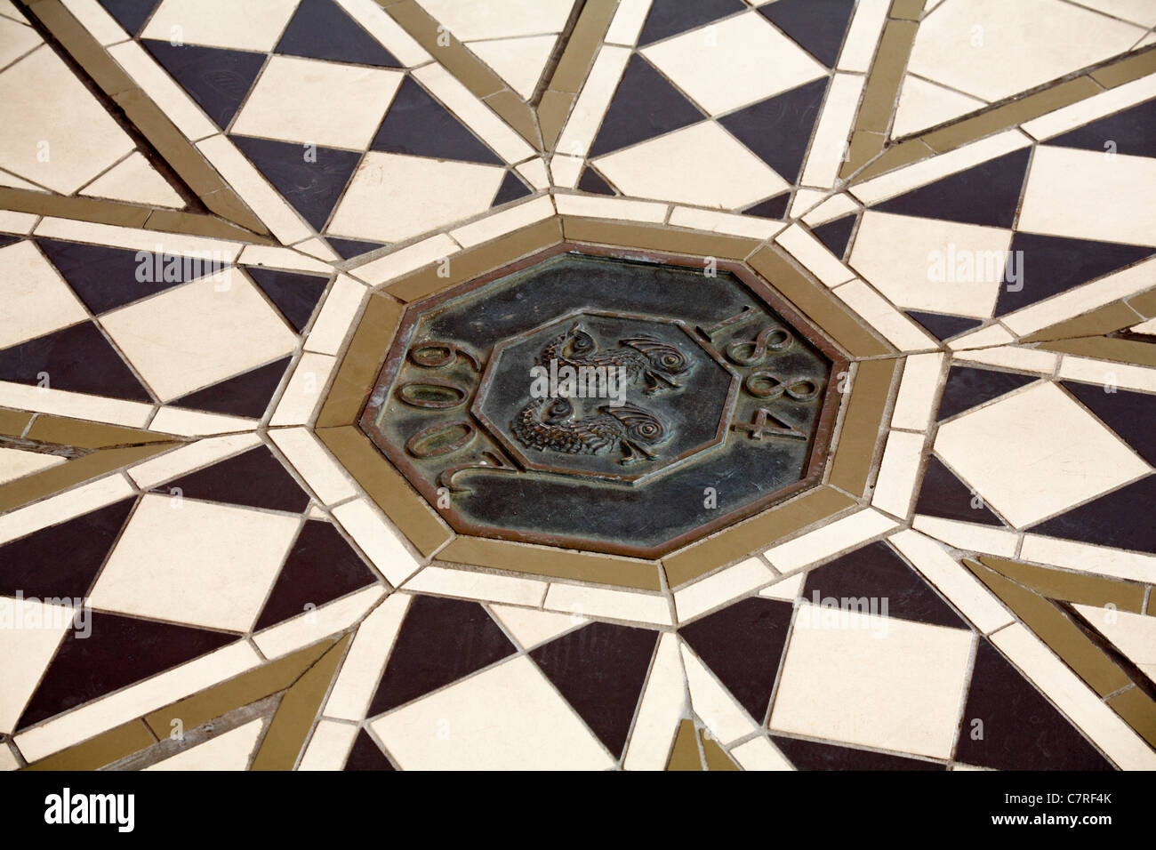 Floor tiles in the Bandstand at Brighton in September - Stock Image