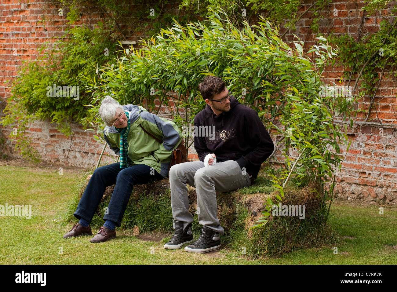 Garden Seat made from grass sods and Willow (Salix sp.) wands. Norfolk. Stock Photo