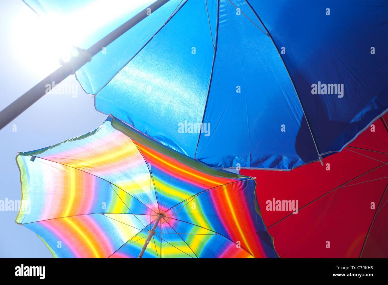 Colourful beach umbrellas Stock Photo
