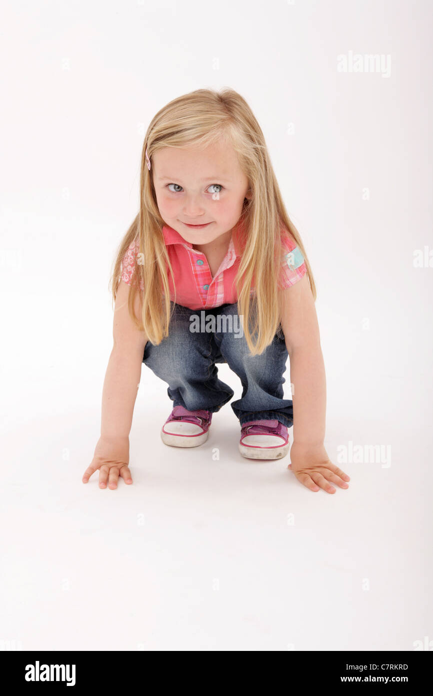 8f02360ccd4 Young girl getting ready to jump Stock Photo  39243777 - Alamy