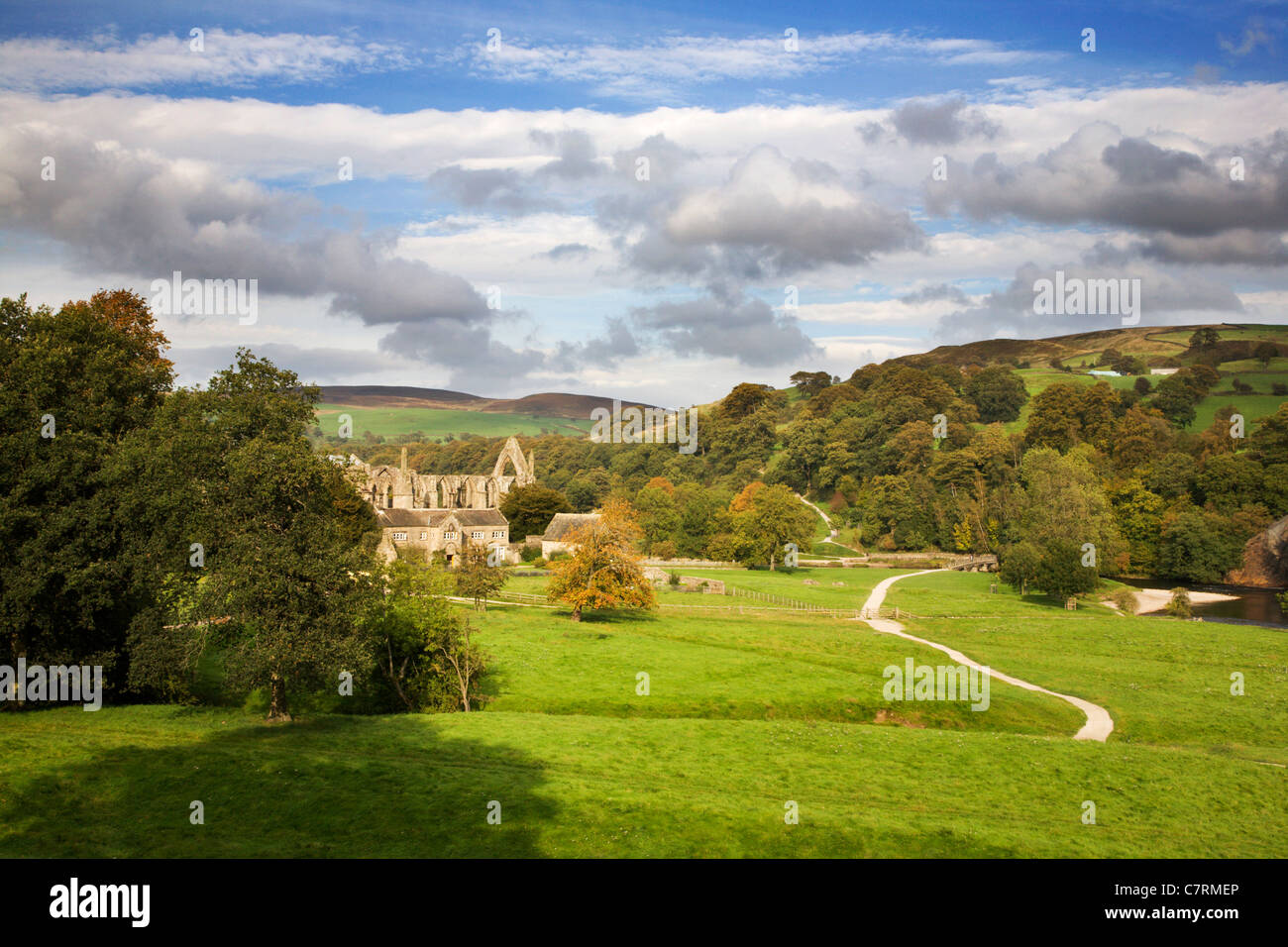 Bolton Abbey in Early Autumn Wharfedale Yorkshire Dales England - Stock Image