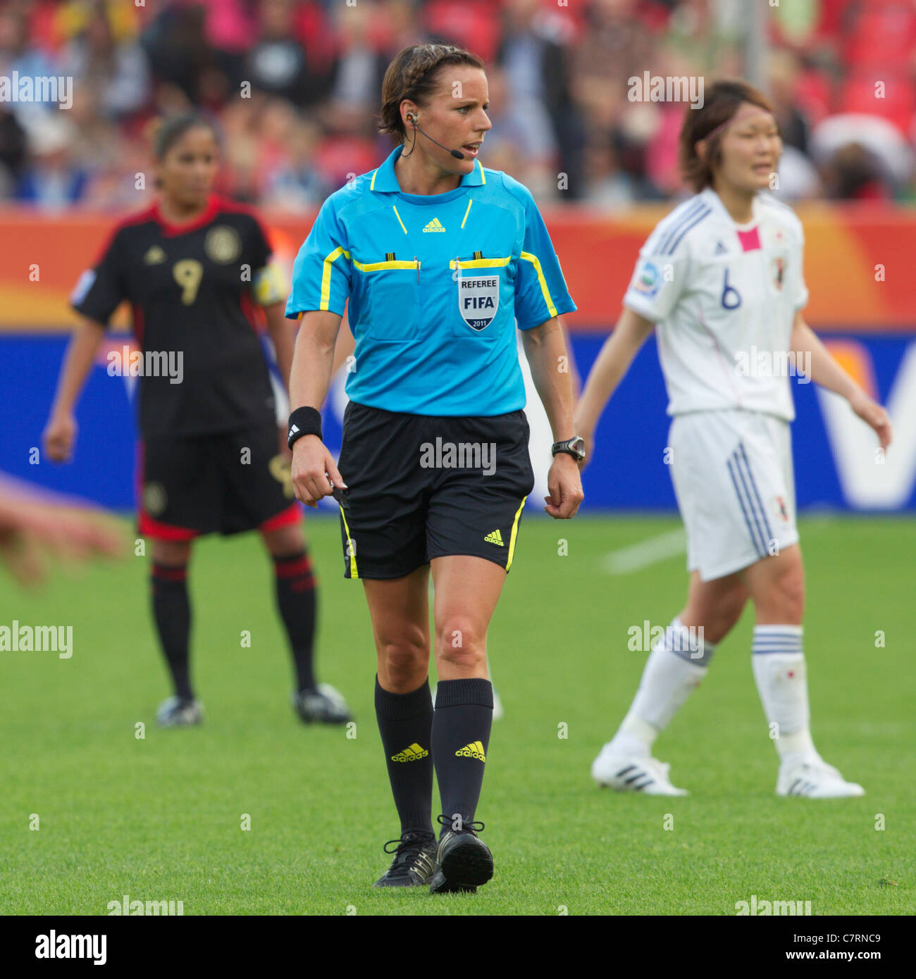 Referee Christina Pedersen officiates a FIFA Women's World Cup Group B match between Japan and Mexico July 1, - Stock Image