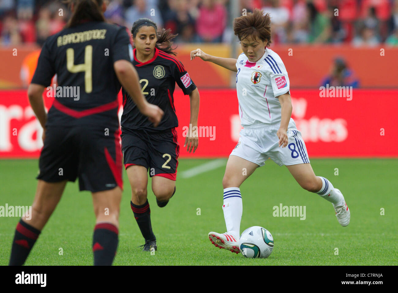 Aya Miyama of Japan sets to kick the ball during a FIFA Women's World Cup Group B match against Mexico July - Stock Image