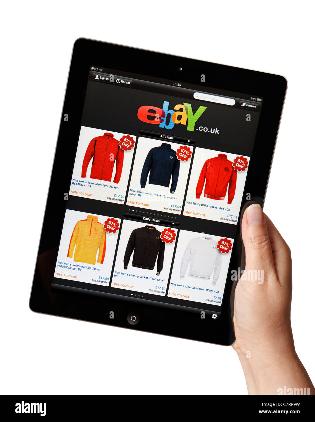 Female Hand Online Shopping Holding Ipad Showing The Ebay Store App Stock Photo Alamy