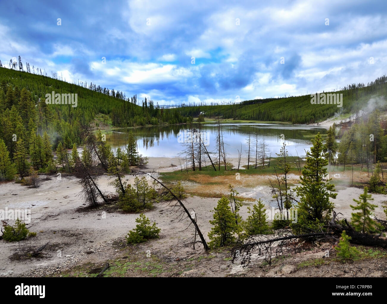 A Lake In The Mountain Volcanic Valley - Stock Image