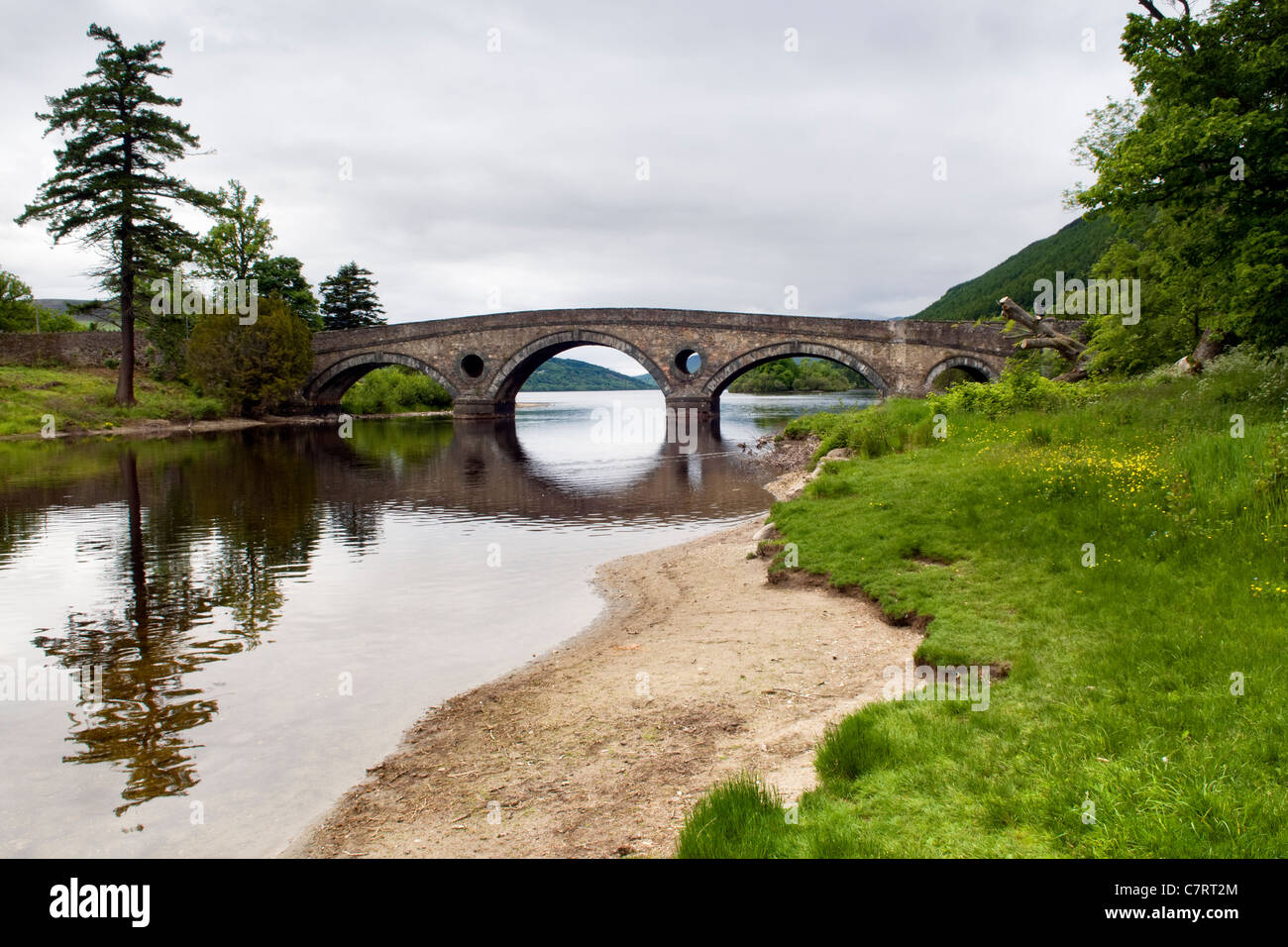 Kenmore bridge at Kenmore over the river Tay looking out over loch Tay and towards Ben Lawers mountain range Stock Photo