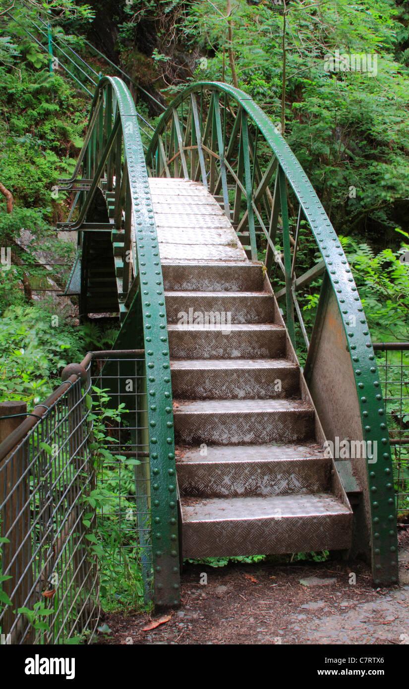 Circular Footbridge At Devil's Bridge; Ceredigion, Wales, Europe - Stock Image