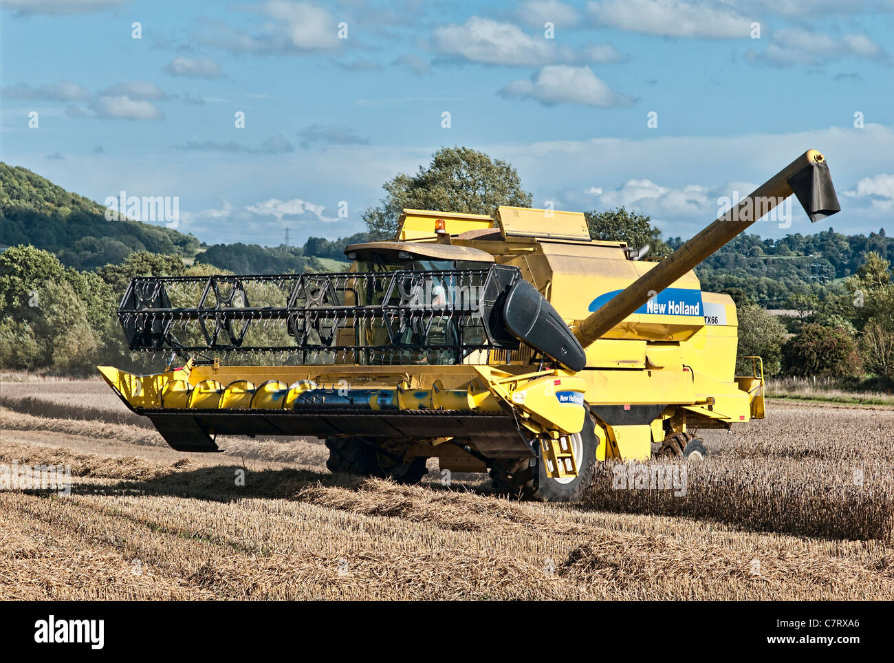 New Holland TX66 harvester with delivery feeder extended prior to unloading - Stock Image