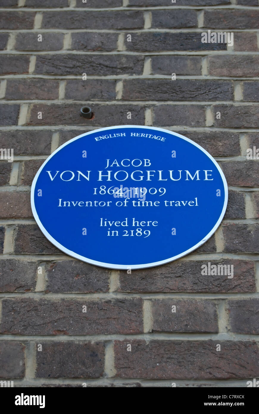 spoof english heritage blue plaque claiming to mark a home of time travel inventor jacob von hogflume Stock Photo
