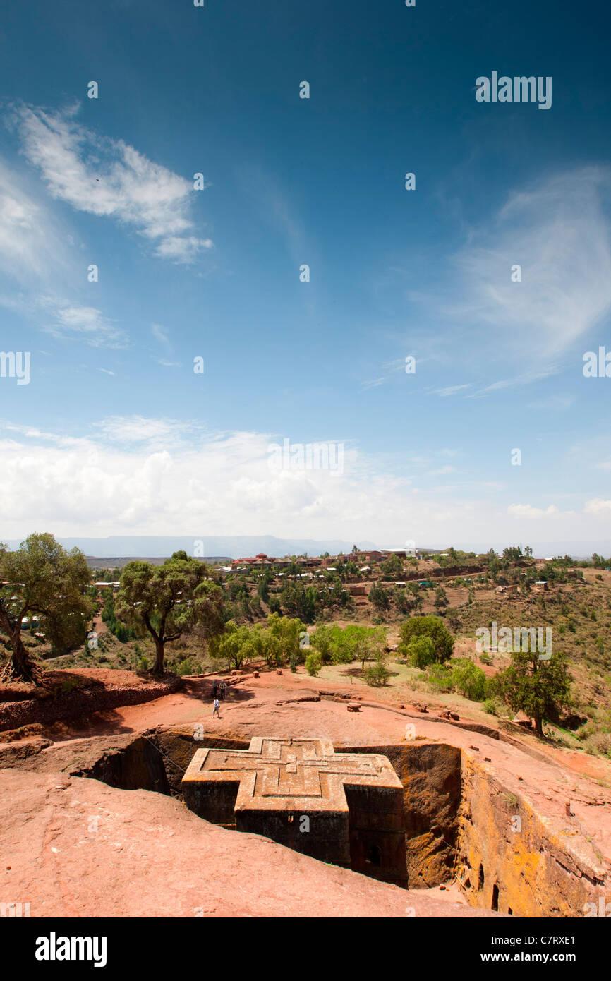 View of the rock-hewn church Bet Giyorgis in Lalibela, Northern Ethiopia, Africa. - Stock Image