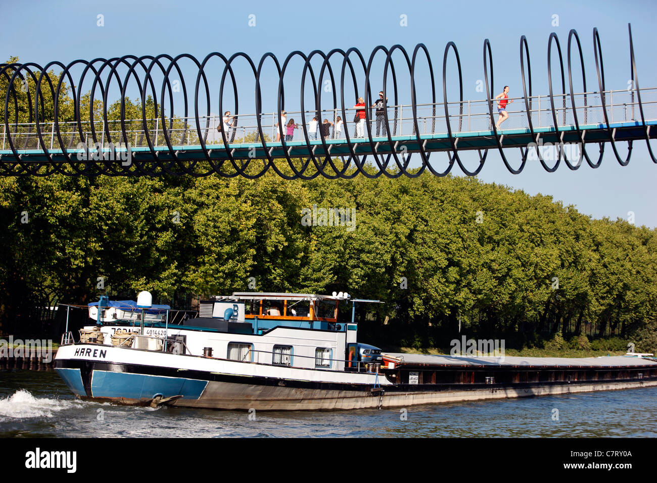 Spiral shaped footbridge. Called 'Slinky Springs to Fame', crosses the 'Rhine-Herne-Canal' an inland - Stock Image