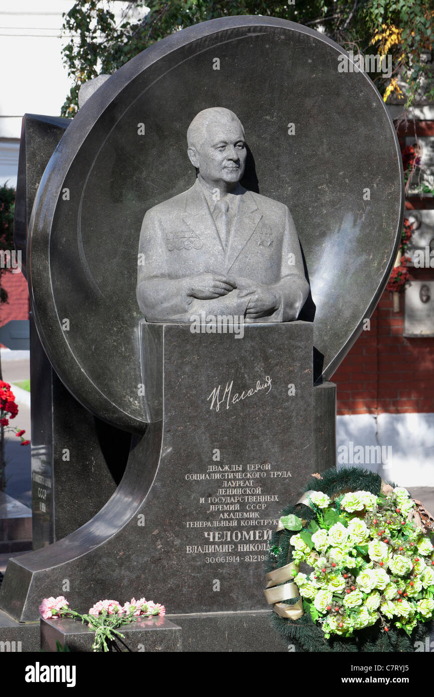 Grave of the Soviet rocket engineer Vladimir Chelomey (1914-1984) at Novodevichy Cemetery in Moscow, Russia - Stock Image