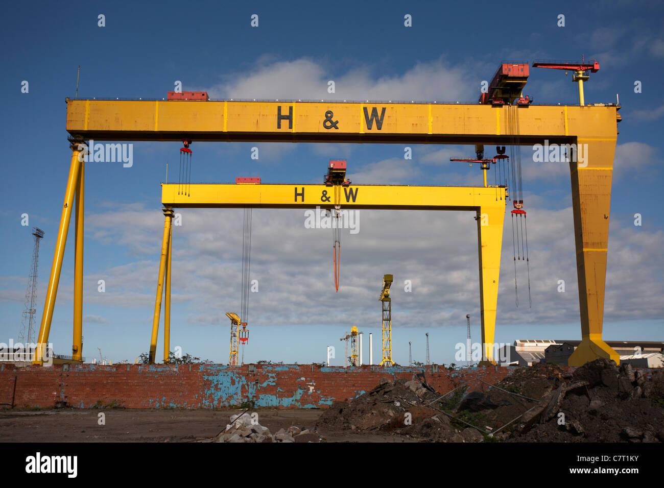 Harland and Wolff twin gantry shipyard cranes Samson and ...